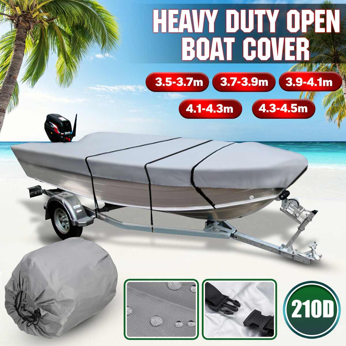 3.5-4.5m Grey Trailerable Heavy Duty Open Boat Cover Fishing Ski Runabout Waterproof 210D Sunproof Anti UV V-Hull Boat Cover