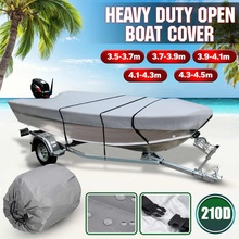 3.5 4.5m Grey Trailerable Heavy Duty Open Boat Cover Fishing Ski Runabout Waterproof 210D Sunproof Anti UV V Hull Boat Cover