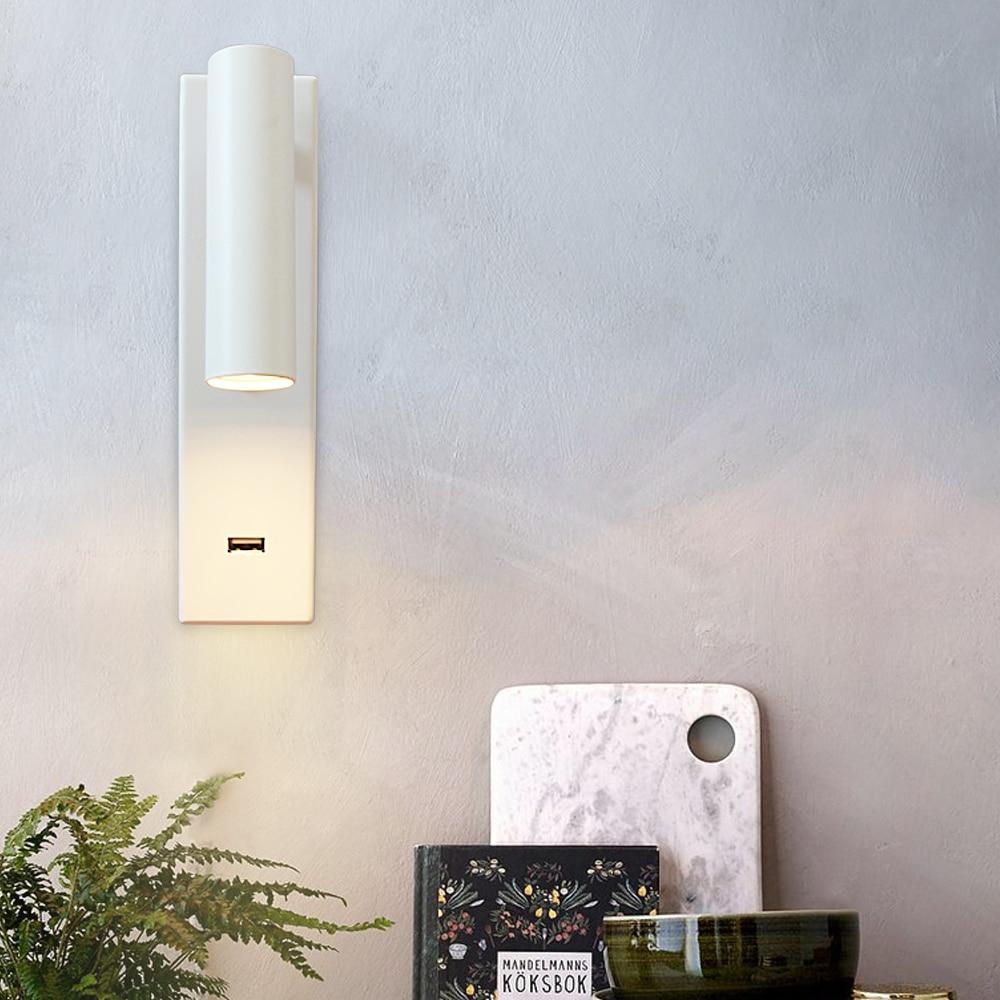 Modern Led Wall Lamp Bedroom Study Balcony Living Room Room Aluminum Household Decorative Telephone Usb Charger Led Wall Lamp