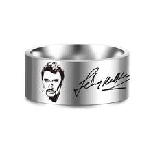 Francês 8mm johnny hallyday foto assinatura punk rock anéis para homens feminino jóias de aço inoxidável hip hop dedo anel SL-153