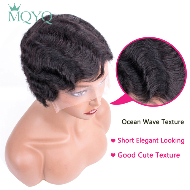 Beaudiva Short Bob Lace Human Hair Wigs For Women Brazilian Ocean Wave Remy Human Hair Wigs No Smell Lace Wigs For Black Women