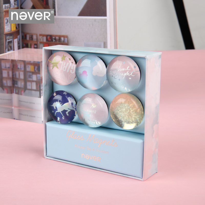 Never Unicorn Whiteboard Magnetic Decorative Sticker Thumb Tack Magnet Pins Strong Adsorption Refrigerator Office Stationery