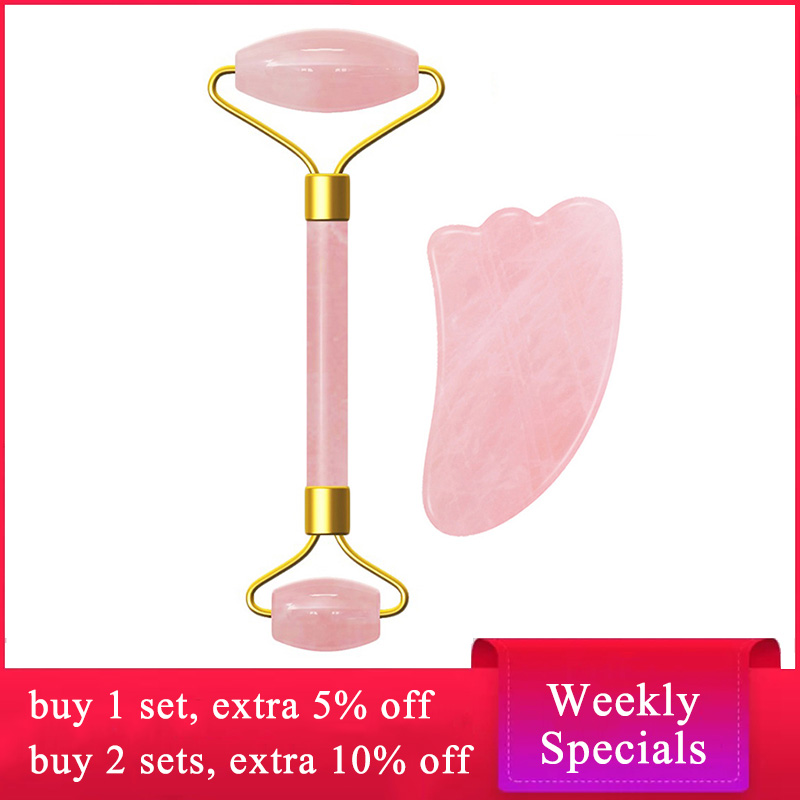 Rose Quartz Roller Face Massager Lifting Tool Natural Jade Slimming Facial Massage Roller Anti Cellulite Wrinkle Guasha Board