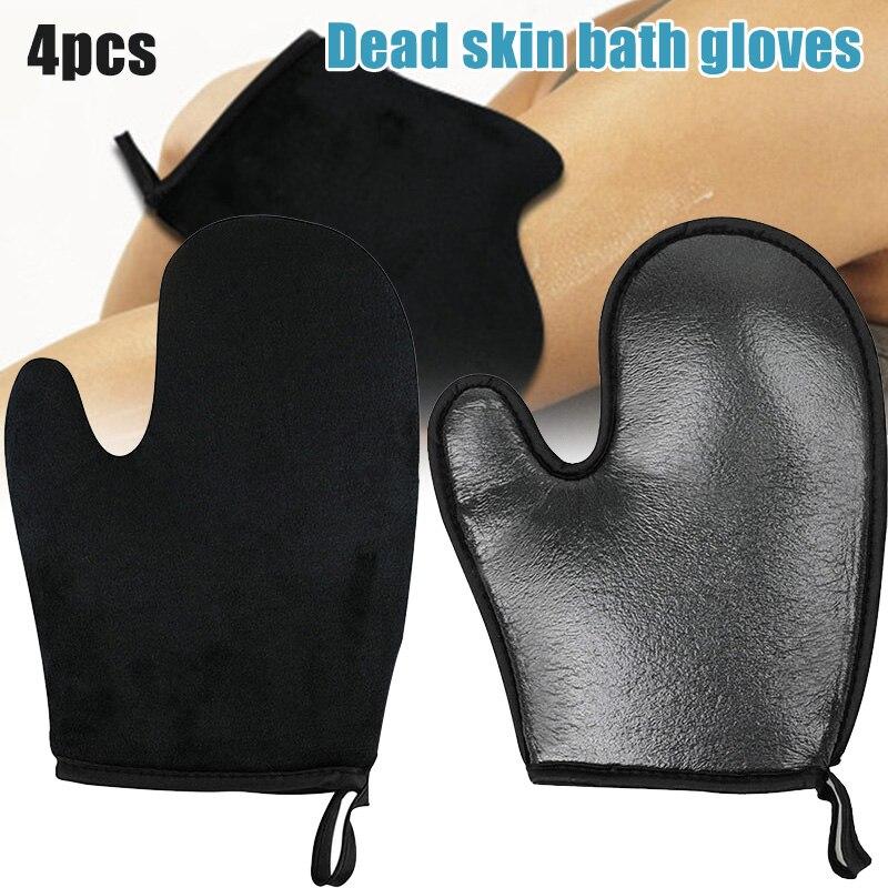 20 4Pcs/set Self Tanning Mitt Applicator Kit Exfoliating Bath Towel Oiling Sunscreen SPA Gloves Back Lotion Applicators