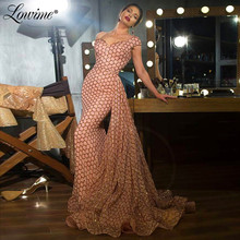 Off Shoulder Pink Evening Gown Sexy Prom Dresses Long Formal Dresses Woman Party Night 2020 Saudi Arabia Sequin Celebrity Dress