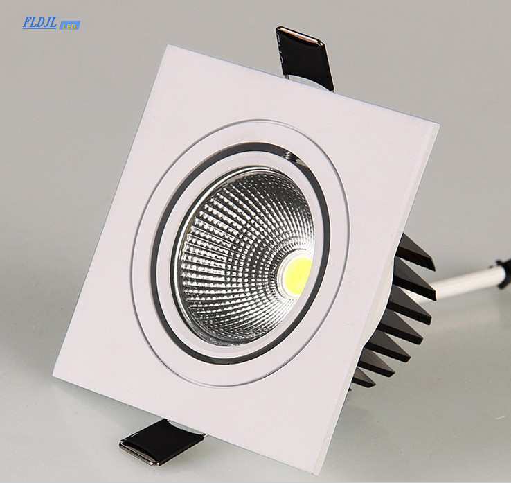 LED Down Light Square 7W 9W 12W Led Downlight COB Dimmable Recessed Led Ceiling Spot Light Lamp AC85 265V Driver Indoor lightingCeiling Lights   -
