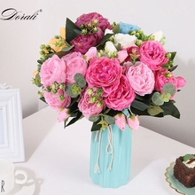 30cm Rose Pink Silk Peony Artificial Flowers PE Foam Bride Bouquet Home Wedding Decor Scrapbooking DIY Supplies