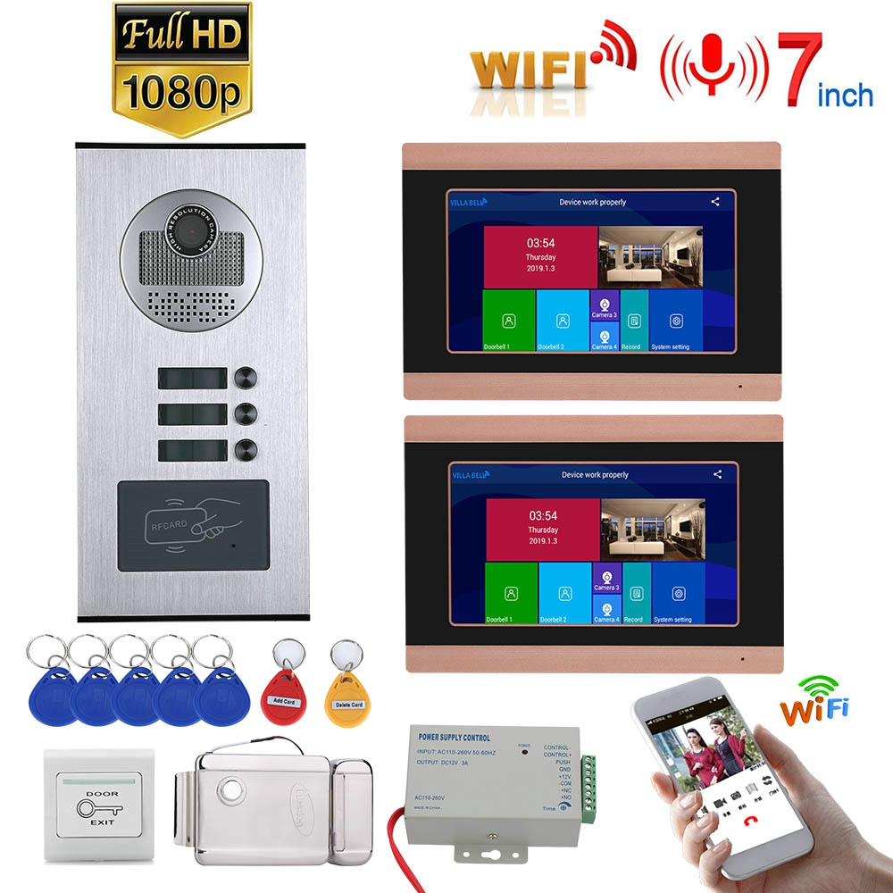 7inch Record Wired Wifi Video Intercom 2 Apartments Doorphone System With RFID 1080P Rainproof Doorbell Camera + Electric Lock