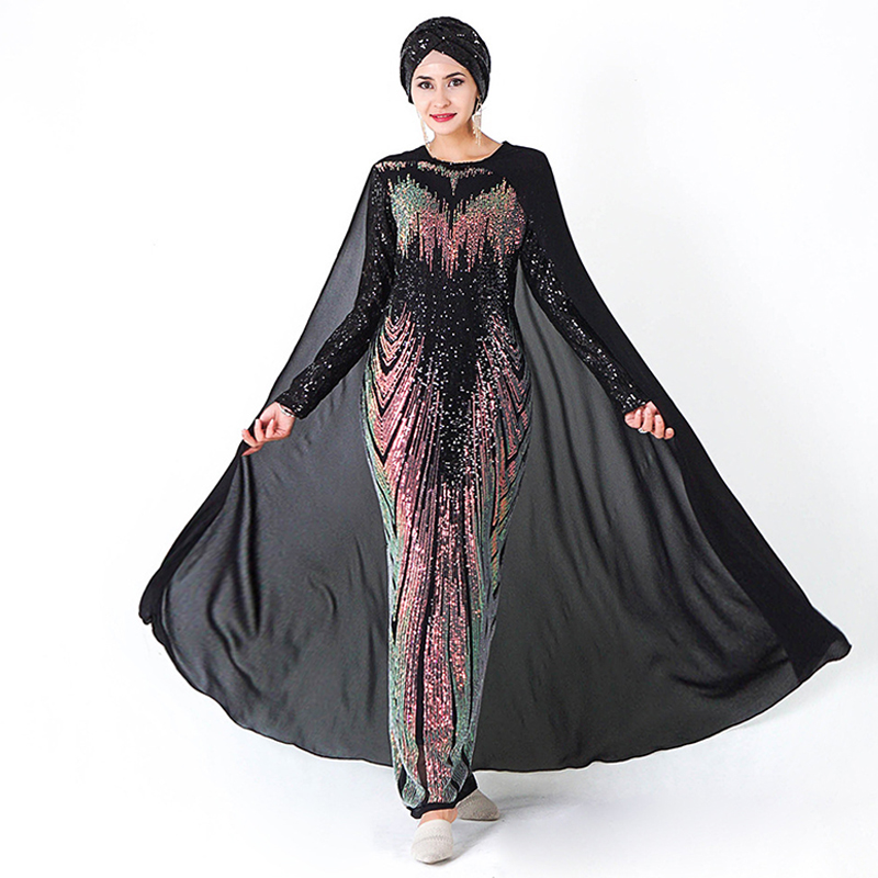 Muslim Dress Party Sequin Dubai Abaya Soiree Turkish Evening Hijab Dresses Islam Clothing Abayas For Women Caftan Kaftan Kleding