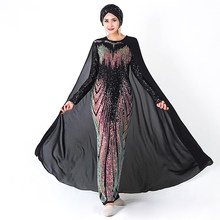 Muslim Dress Party Sequin Dubai Abaya Soiree Turkish Evening Hijab Dresses Islam Clothing Abayas For Women Caftan Kaftan Kleding(China)