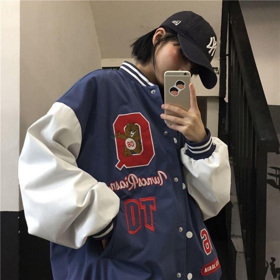 Vintage urso letras jaqueta de beisebol casaco feminino oversized 2021 primavera nova harajuku estilo coreano solto outerwear legal meninas ins
