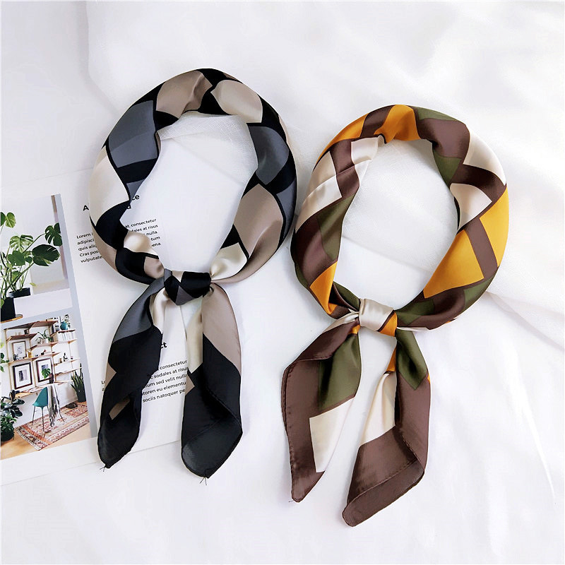 70 Geometry Square Small Square Towel Small Silk Women's Spring And Autumn Summer Versatile Korean-style Headscarf Neckerchief W