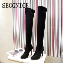 Over the Knee Boots Women High Heel Shoes Sexy Sock Boots Pointed  Toe Thin Heels Party Fashion Ladies 2019 Winter Warm Boots 2017 fashion women long boots knee high boots thin high heel pointed toe flock buckle plush dress party winter sexy ladies shoes