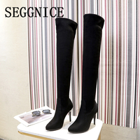 Over the Knee Boots Women High Heel Shoes Sexy Sock Boots Pointed Toe Thin Heels Party Fashion Ladies 2019 Winter Warm Boots