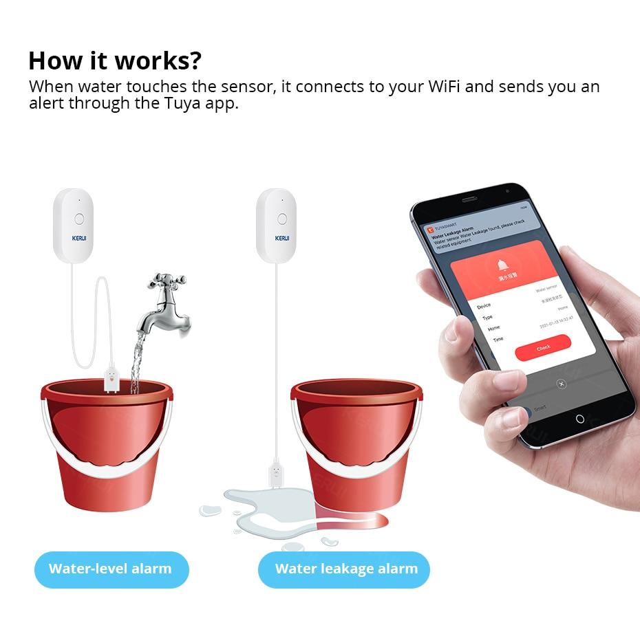 Купить kerui wifi датчик воды умный дом кухня детектор утечки tuya
