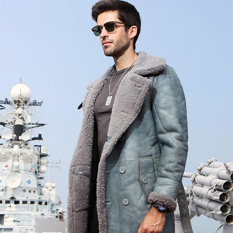 Genuine Leather Sheep Shearing Winter Men Real Fur Coat Natural Wool Jacket For Mens Clothing Casaco 216 YY216