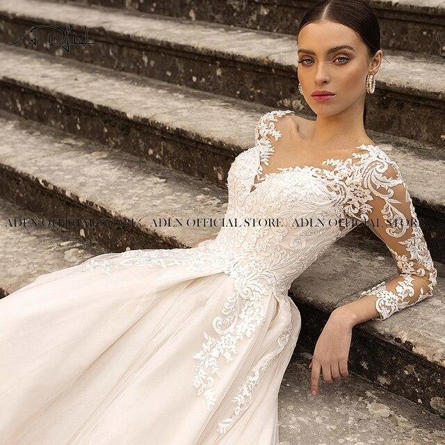 Gorgeous Lace Wedding Dress with Long Sleeves Sheer Neck Appliqued Champagne Bridal Gown Princess Vestido de Novia 6