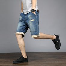 Sommer Herren Plus Größe 48 Knie Länge Kurze Jeans Stretch Casual Lose Fit Denim Shorts Taschen Streetwear Jeans Bermuda Shorts(China)