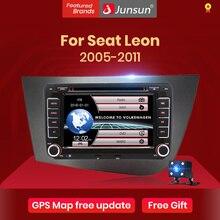 """Junsun 7 """"araba radyo 2 din radyo araba araç DVD oynatıcı koltuk Leon için 2 2005 2006 2007 2008 2009 2010 2011 GPS navigasyon araba ses stereo"""