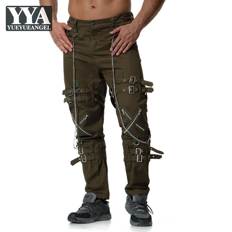 Europe Men Clothes Zippers Fashion Cargo Trousers Personality Tactical Pants High Street Casual Loose Fit Chain Plus Size Pants