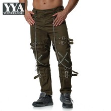 Europe Men Clothes Zippers Fashion Cargo Trousers Personality Tactical Pants Hig
