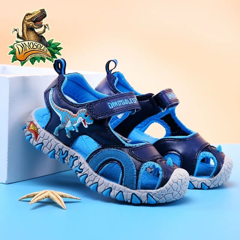 DINOSKULLS Children's Summer Shoes For Boys Dinosaur Closed Toe Sandals Kids T-rex 2020 Beach Sports Shoes T-rex Anti-Slip 27-34