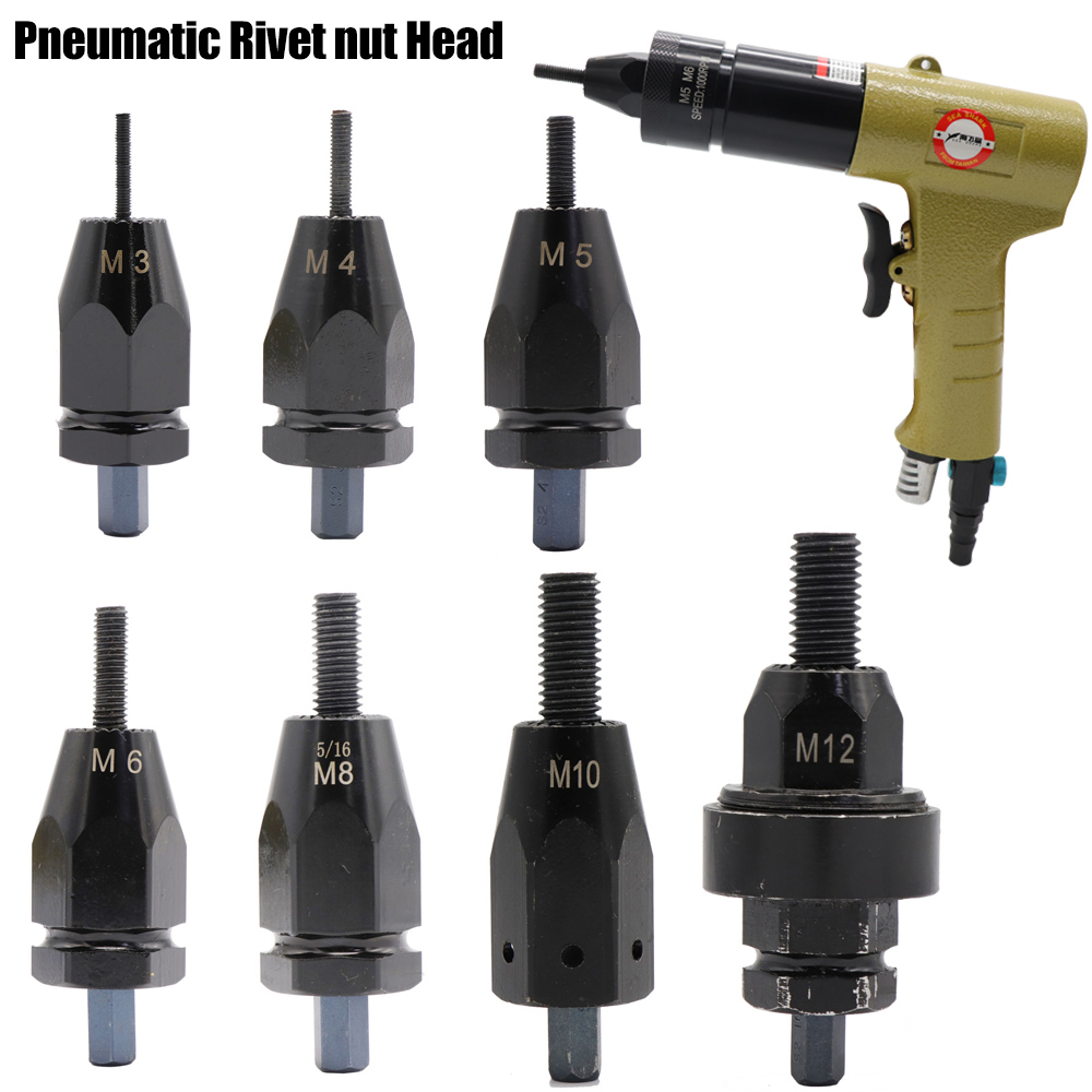 M3-M12 32/5 3/16 1/4 5/16 3/8 1/2 Air Pneumatic Rivet Gun Adapter Head Part For Rivet Guns Tool Accessories