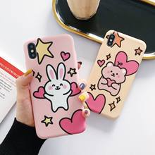 Cartoon Little Bear Rabbit For 8plus iphone 11 phone cases Xsmax xr iphone7 6s Matting Soft cases/phone cases / bumpers/thin(China)