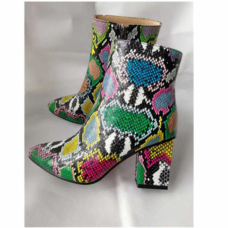 ZETMTC Print Snake Pu Frauen Stiefeletten Zip Spitz Schuhe Dicke High Heels Weibliche Boot Schuhe Frauen 2019 snakeskin bootie