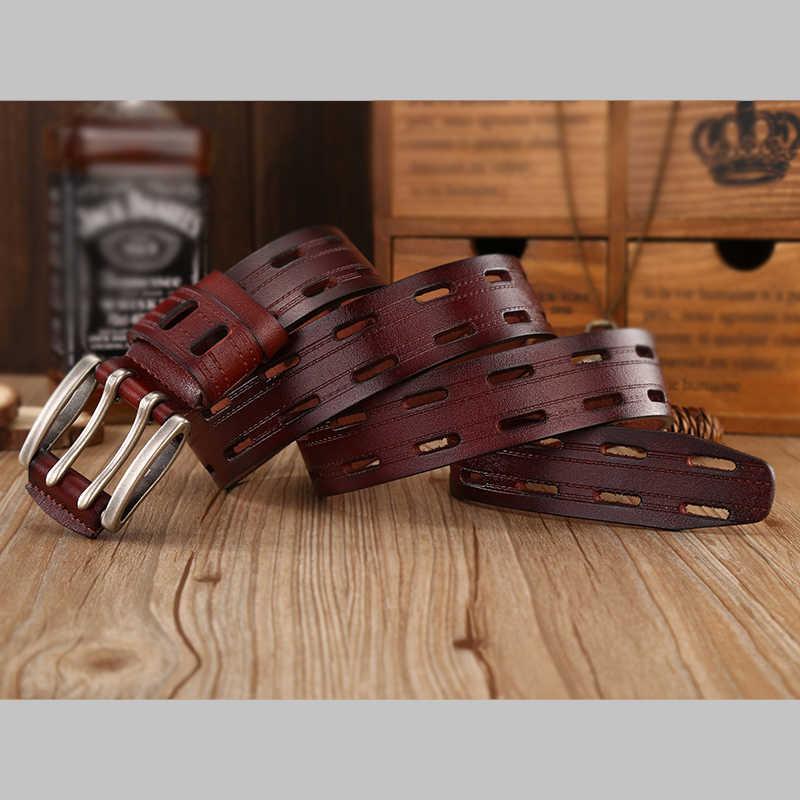 Yüksek kalite hakiki deri kemerler erkekler için marka kayış erkek çift Pin toka fantezi Vintage kot kovboy Cintos