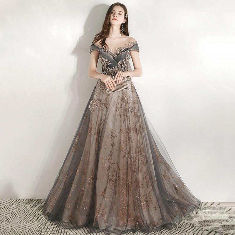 A-Line Women Party Dresses Illusion Crystal Formal Gowns K297 Floor Length Evening Dress V-Neck Short Sleeve Elegant Vestidos