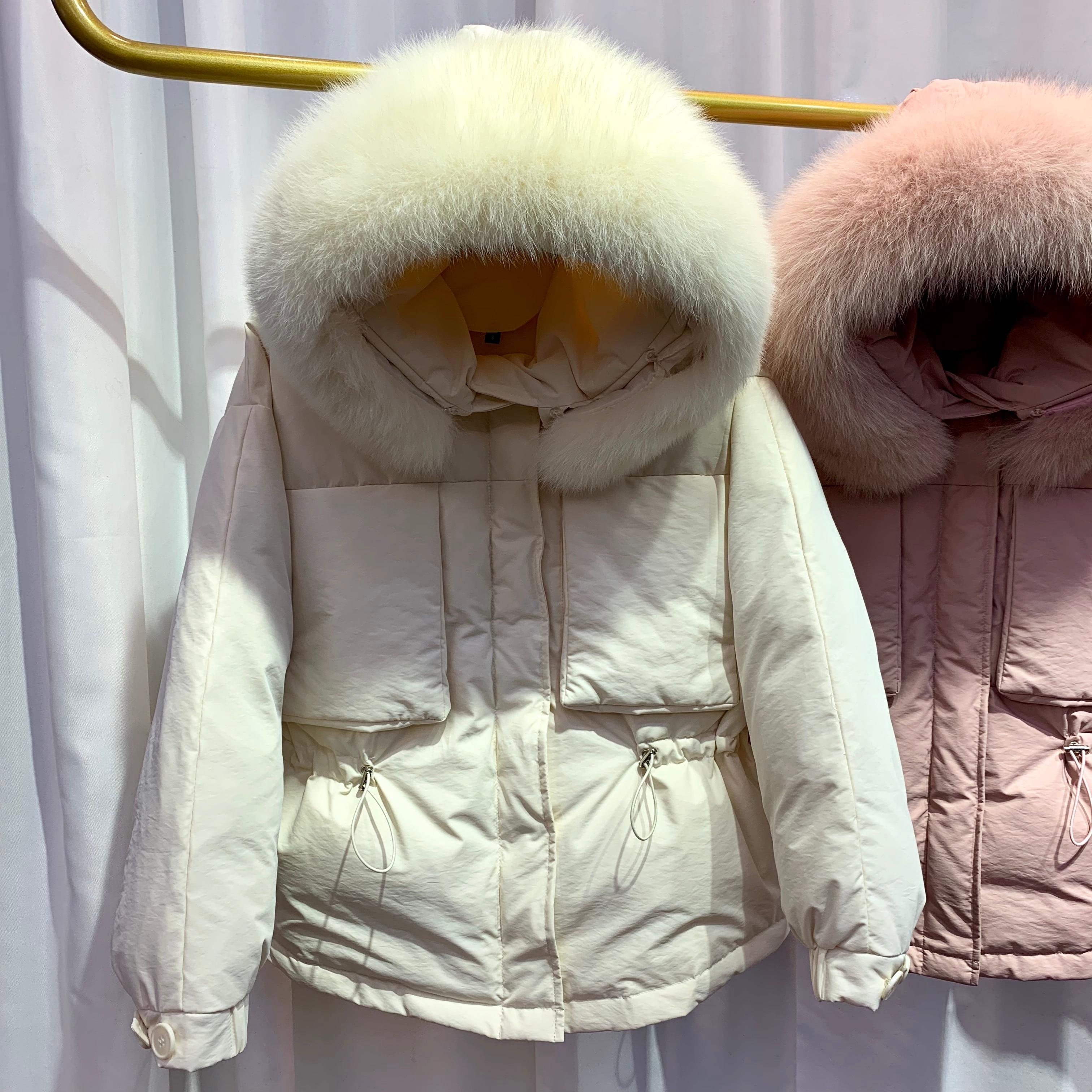 Big Real Fox Fur Collar 2019 Winter Women   Down   Jacket Snow Warm White Duck   Down   Jacket Short   Down   Parkas Female Women   Down     Coat