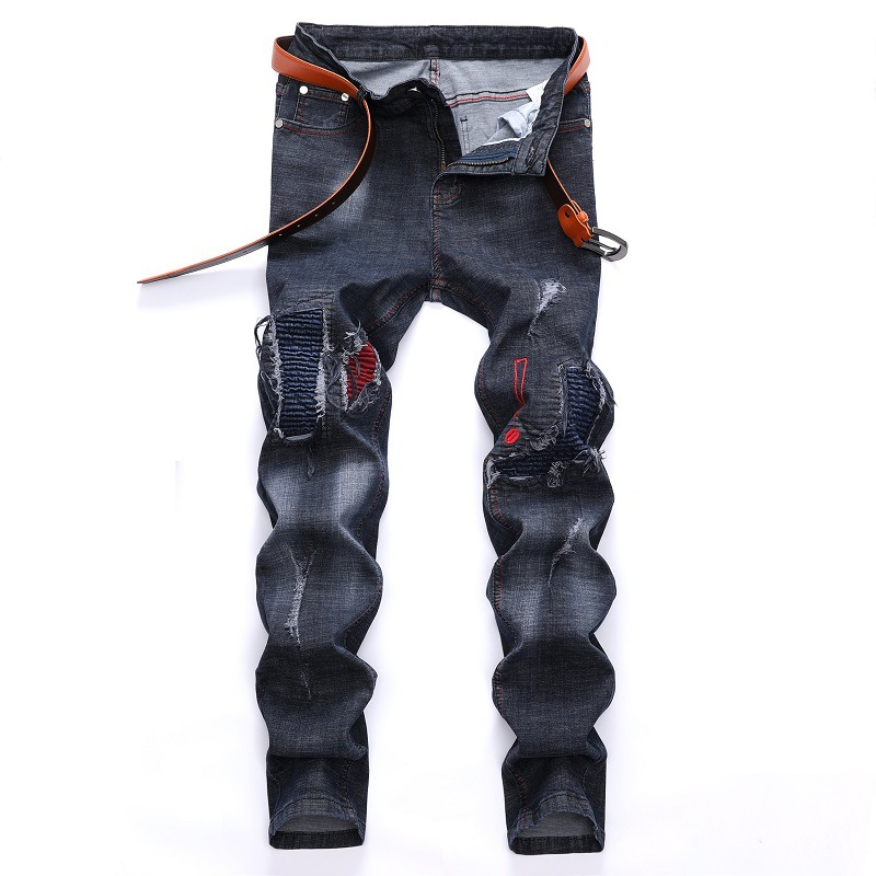 2020 High Quality Men  Casual Jeans Coated Slim Straight Pleated Biker Jeans Pants Male Denim Casual Pants Plus Size 42