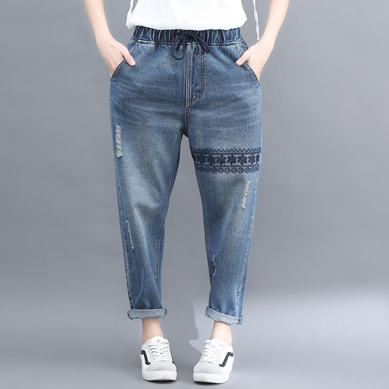 2020 Spring New Denim Trousers Women Elastic Waist Cotton Boyfriend Casual Jeans Embroidery Girl Female Student Pants Plus Size