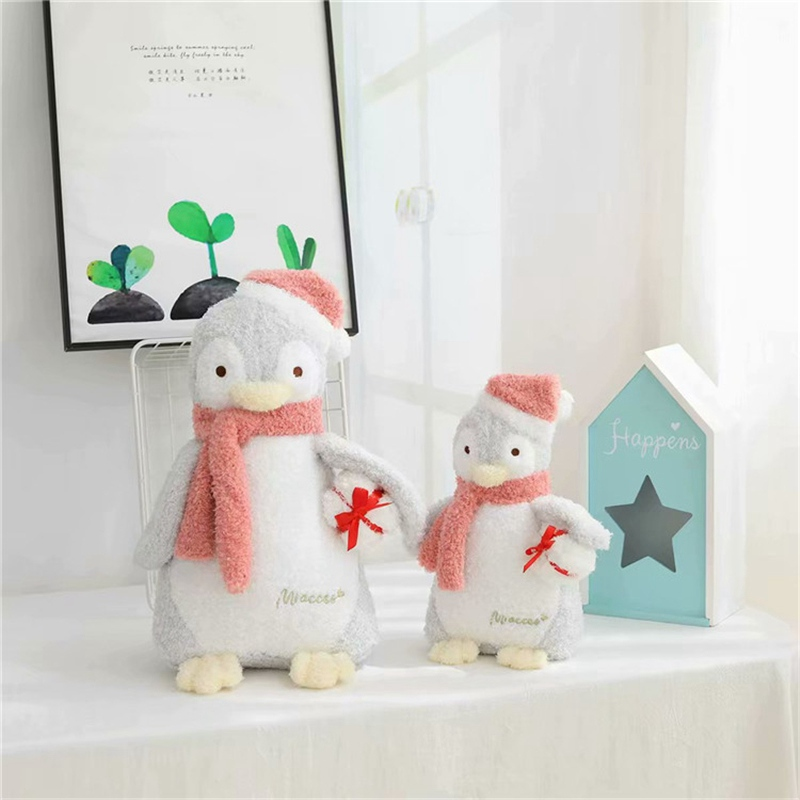 Hot 1pc 23cm/33cm/48cm Kawaii Christmas Hat Penguin Plush Toy Soft Stuffed With Scarf Doll Baby Children Lovers Birthday Gift image