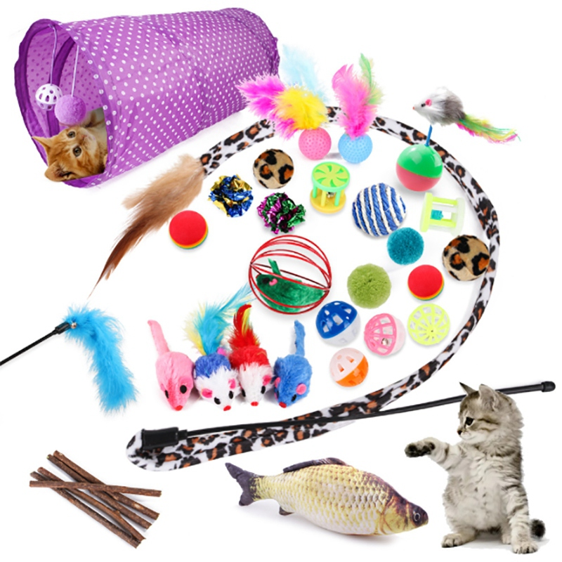Practical 28 Pcs Cat Toy Kitten Toy, Cat Tunnel Cat Mint Fish Feather Teasing Stick Fish Fluffy Mouse Mouse Ball and Bell Toy Ca image