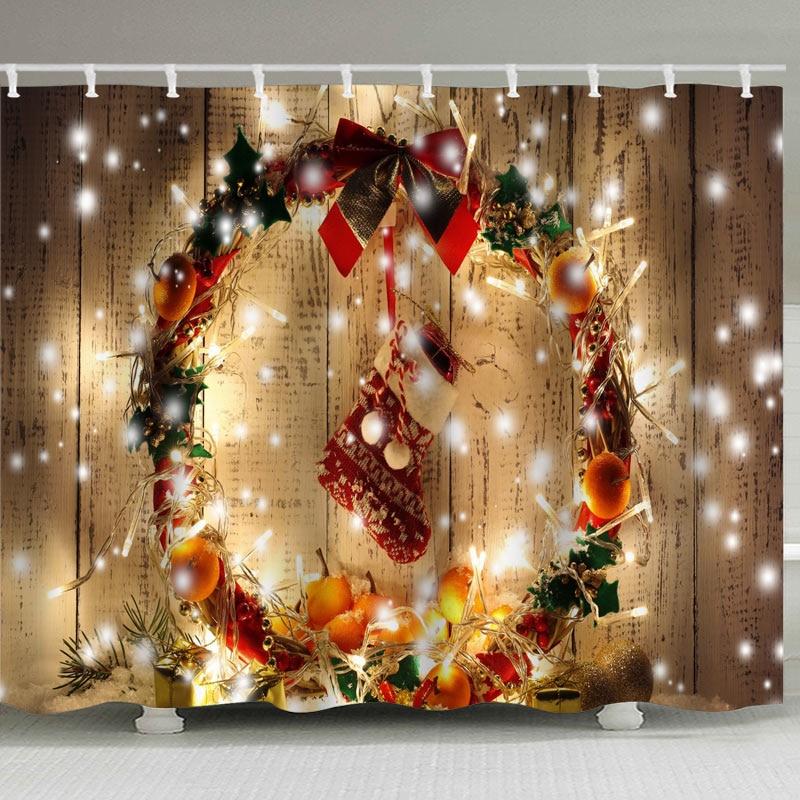 "Christmas Golden Stars Snowflake Waterproof Fabric Bathroom Shower Curtain 71/"""