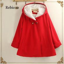 Красное пальто зимнее женское двубортное одноцветное простое теплое Kawaii повседневное женское пальто корейская модная одежда женская универсальная шерстяная