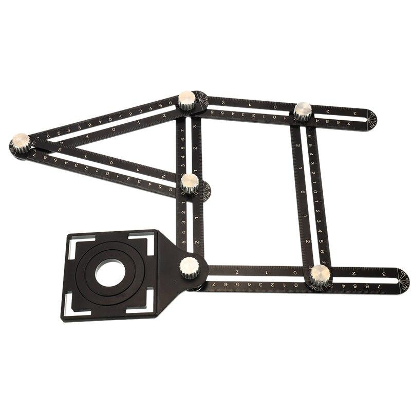 Multi ângulo de liga de alumínio seis-sided medição régua protratores ângulo ajustável ferramenta piso telha buraco locator mecanismo perfurador