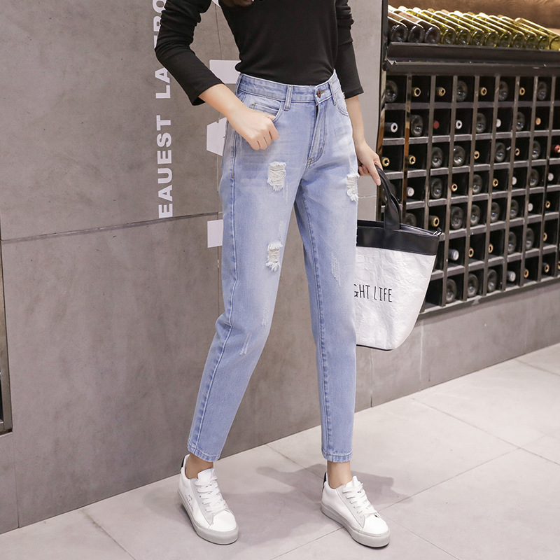 2019 Large Size Jeans Women's Large GIRL'S Autumn Clothing New Style Loose-Fit Online Celebrity Capri Pants A Generation Of Fat