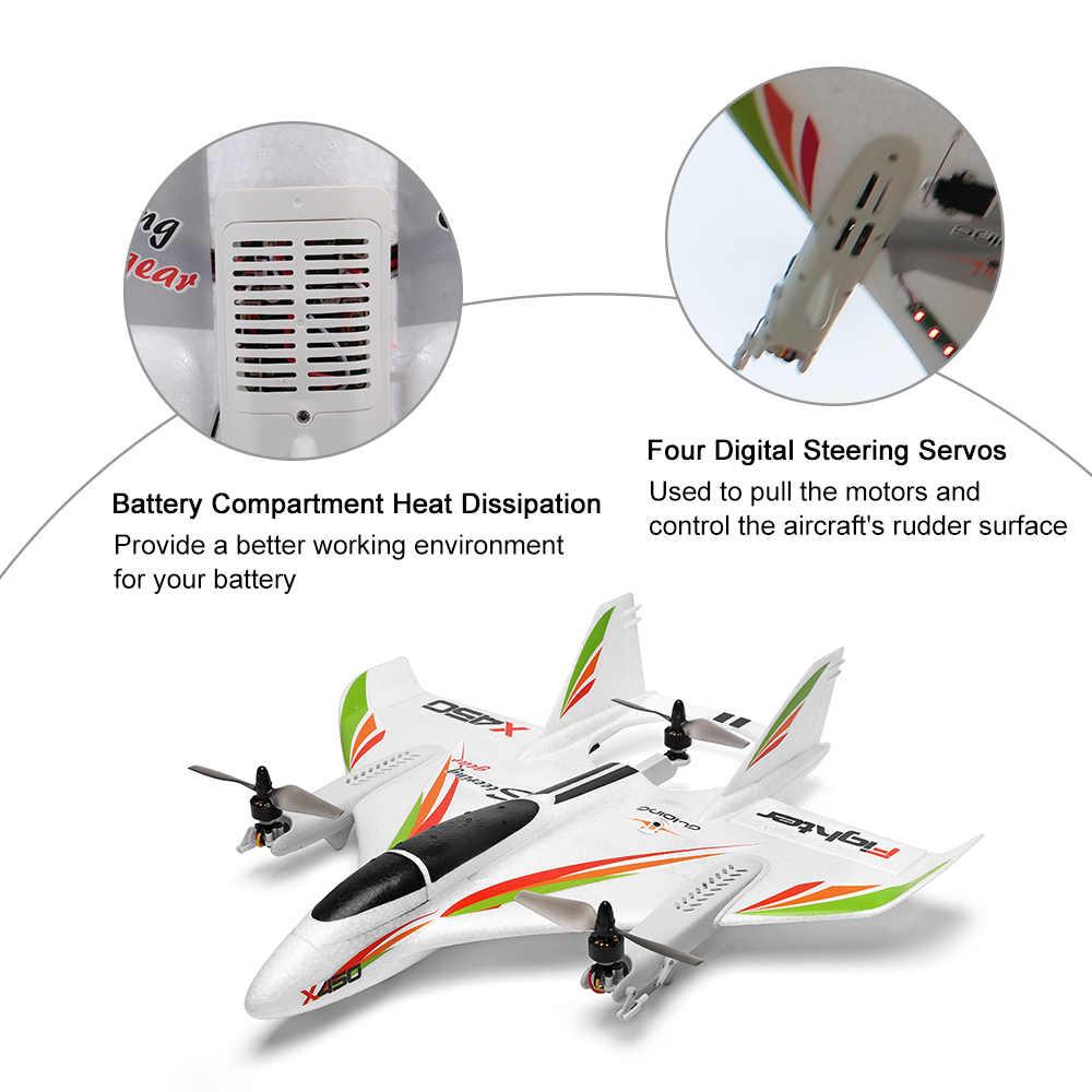 WLtoys XK X450 RC Vliegtuig RC Drone 2.4G 6CH 3D 6G Borstelloze Verticale Opstijgen Met LED Licht Vaste wing RTF RC Vliegtuigen