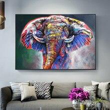 Abstracto colorido elefante rua graffiti arte da lona pintura cuadros impressão arte da parede para sala de estar decoração casa (sem moldura)