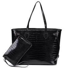 Crocodile Women's Tote Handbags Shoulder Bag with inner pouch - PU Vegan Leather 12 inch MM 32 CM European and American Style charming women s tote bag with crocodile print and pu leather design