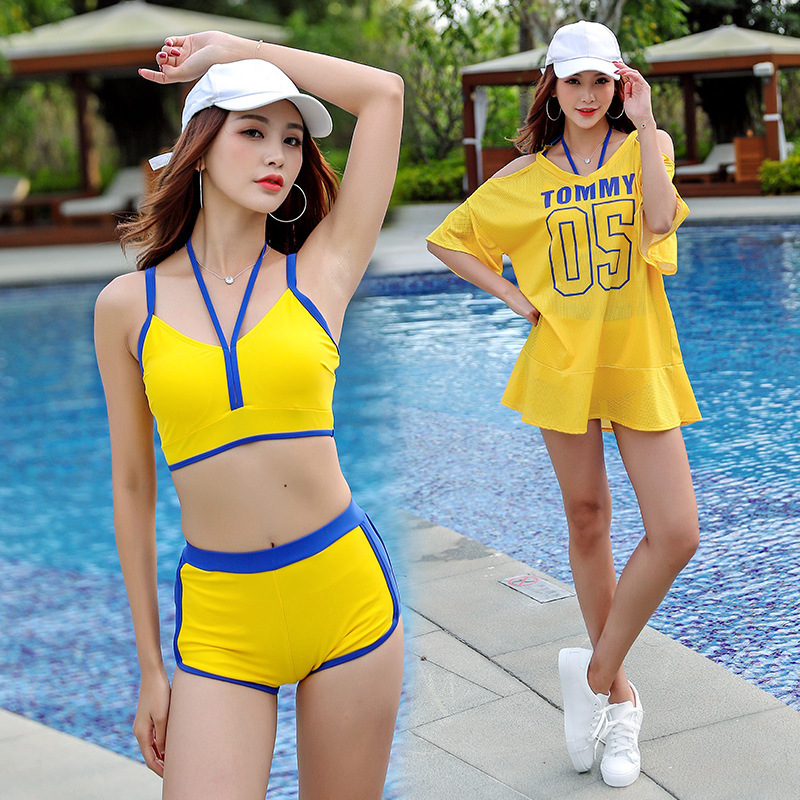 May Plus Size Female Beach Swimsuits Woman Bikini Set Rashguard Three Piece Sports Korea Swim Solid Polyester Sierra Surfer