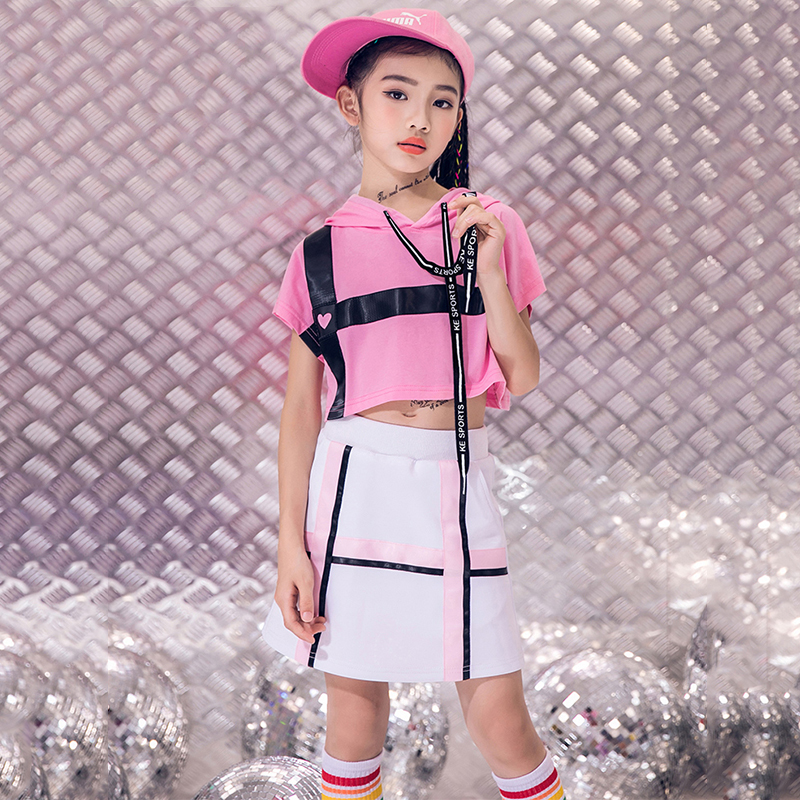 >Jazz Costumes Girls Pink Stage <font><b>Outfit</b></font> Cheerleader Costume Kids Street Dancing Performance Clothing Child Hip Hop Wear DNV12031