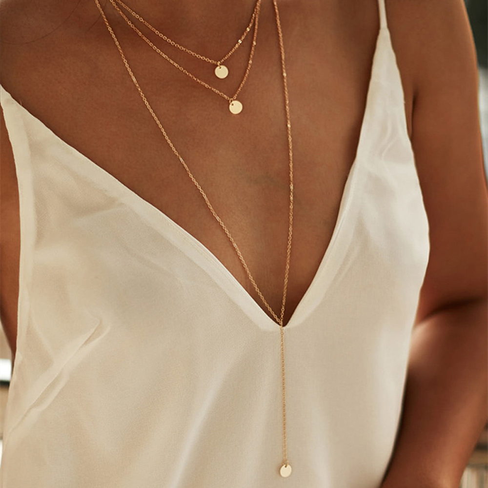 SUMENG New Arrival 2021 Fashion Minimalist Round Disco Coin Chain Necklace Pendant Dainty Sequins Multi Layers Necklaces Women