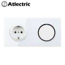 Atlectric 1/2/3/4 Gang Switch + Socket EU/DE/RU Glass Panel Plug Wall Socket 110-250V Power Electrical Outlet LED indicator