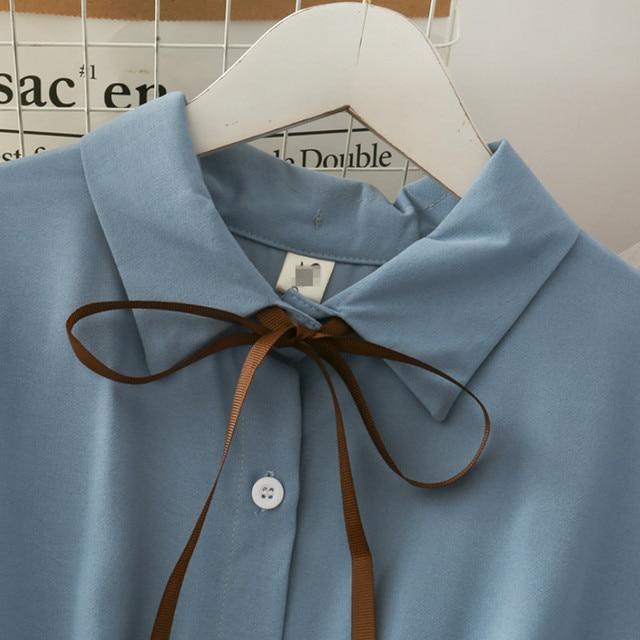 Dress Women Chiffon Bow Solid High Waist Turn-down Collar Preppy Style Kawaii Ulzzang Popular Temperament Girls Summer Holiday 4