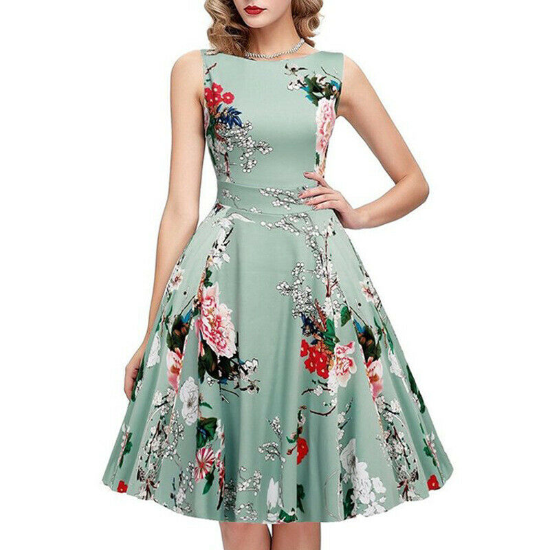 Women <font><b>Dress</b></font> Retro <font><b>Vintage</b></font> <font><b>1950s</b></font> <font><b>60s</b></font> Rockabilly Floral Swing <font><b>Dresses</b></font> Vestidos image