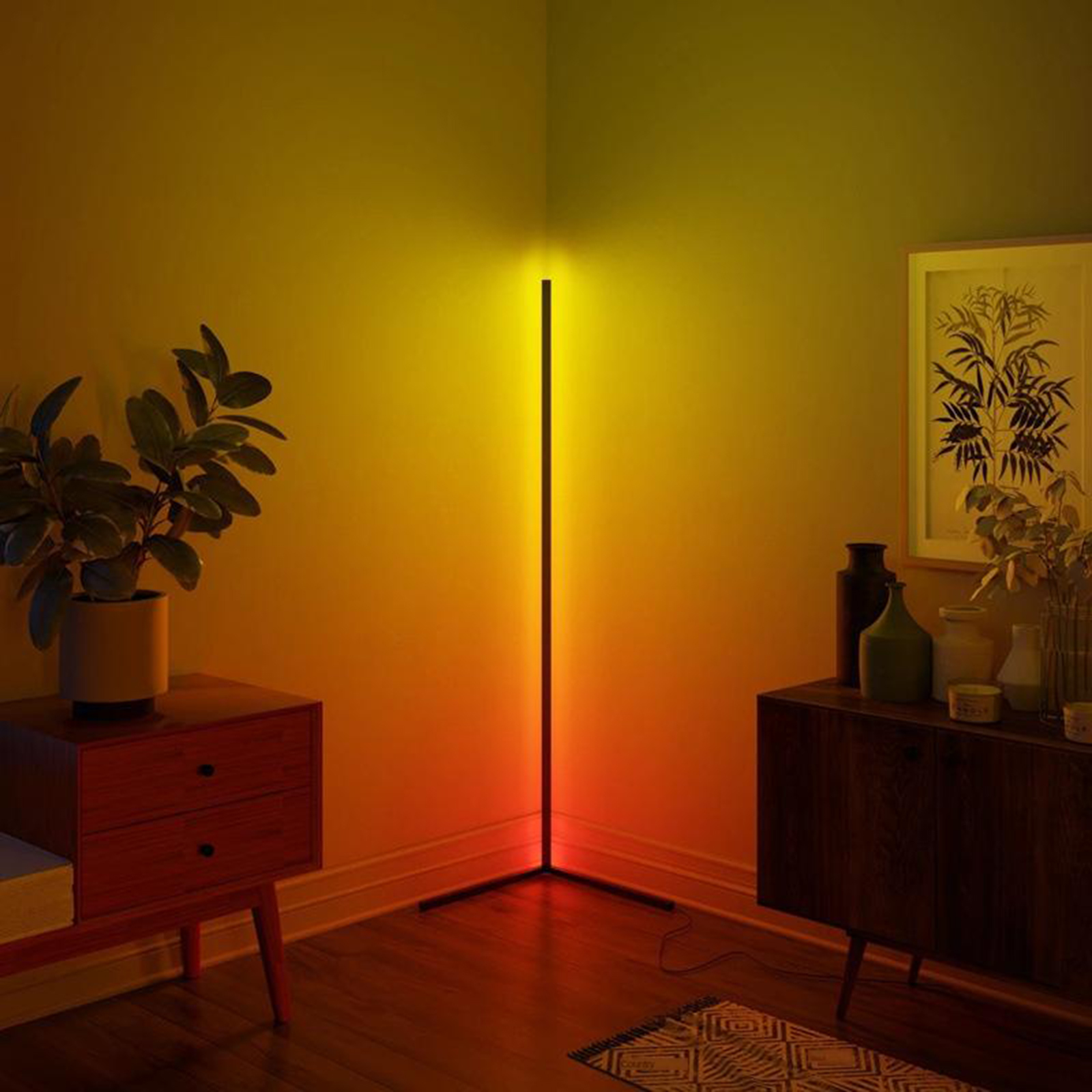 Nordic Style Floor Lamp RGB Color Changing LED Corner Lamp Standing Pole Light